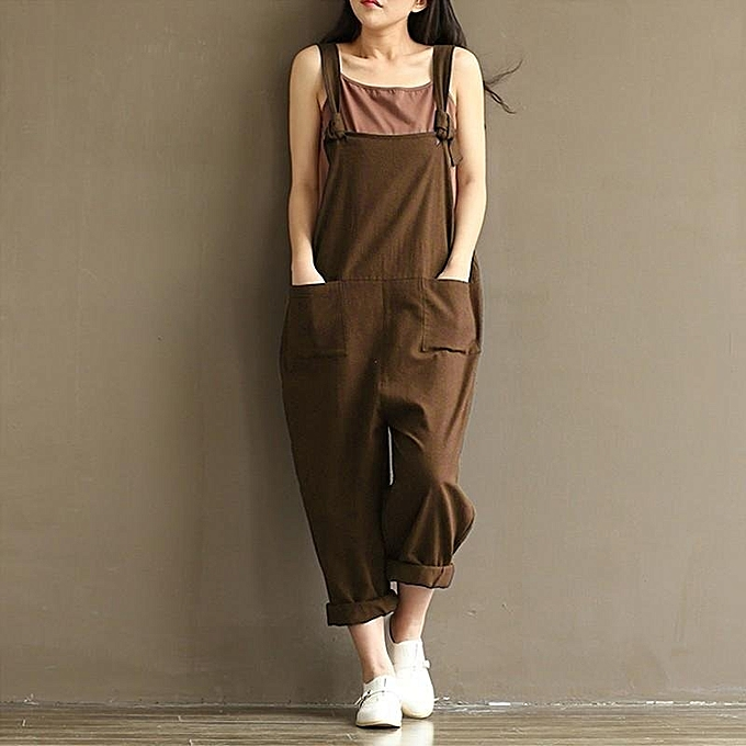 3c7360a9c4 ZANZEA Rompers Womens Jumpsuits Casual Vintage Sleeveless Backless Casual  Loose Solid Overalls Strapless Playsuits Plus Size