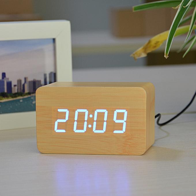 New Designer Thermometer LED Digital clock, Sounds Control Alarm  Clocks,Desktop Table Clock for(black red)