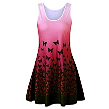 Women Butterfly Print Ombre A Line Short Tank Dress - Red