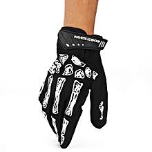 2pcs Skeleton Skull Bone Cycling Bike Bicycle Gloves 3D Gel Pad Breathable Outdoor Full Finger M - Black