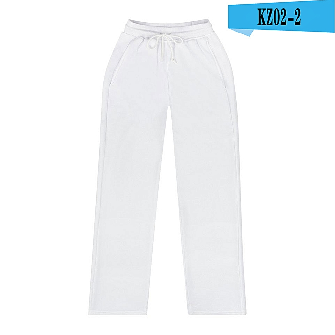 82ab693d761 White-Pure white pants,casual pants,men's women's wear,fashionable long  pants