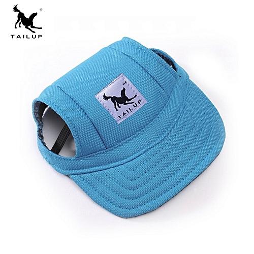 Generic Home-Fashion Dog Cat Pet Baseball Visor Hat Cap With Ear Holes  Adjustable Strap Blue   Best Price  df2ce673ec8
