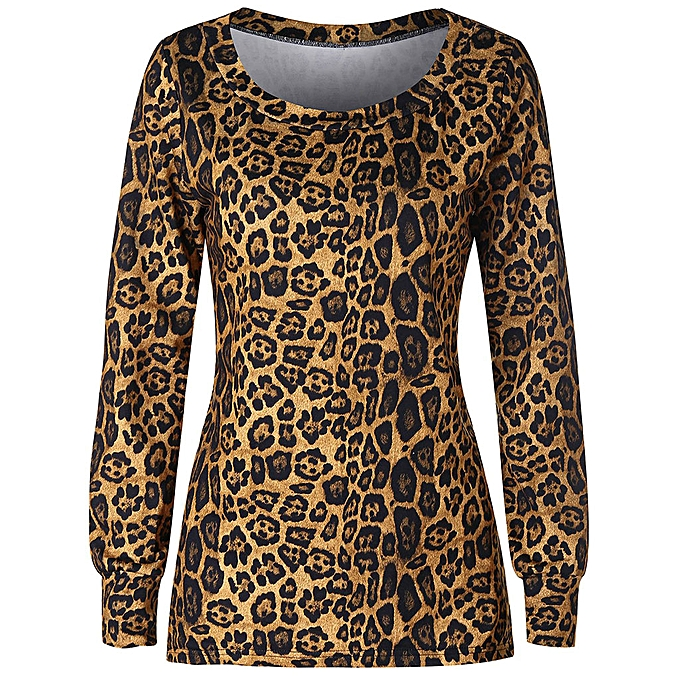 67ee4c24561f Fashion huskspo Womens Long Sleeve Leopard Print Round Neck Top Contrast  Blouse