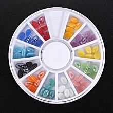 6Style 3D Nail Art Sticker Rhinestone Crystal Gems Beads Stone Wheel Decoration 03