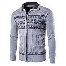 Men's Cotton Slim Knitted Striped Zipper Leisure Sweaters Long Sleeve Cardigans