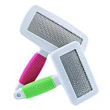 Handle Shedding Pet Dog Cat Hair Brush Pin Fur Grooming Trimmer Comb Tool-Hot Pink