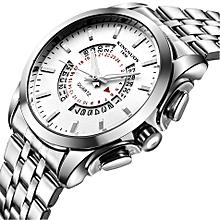 Fashion temperament diamond calendar height waterproof stainless steel quartz watch  Silver