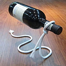Creative Floating Fashion Red Wine Bottle Stand With Magic Rope Shape And Wrought Iron Electroplating For Living Room / Bar / KTV