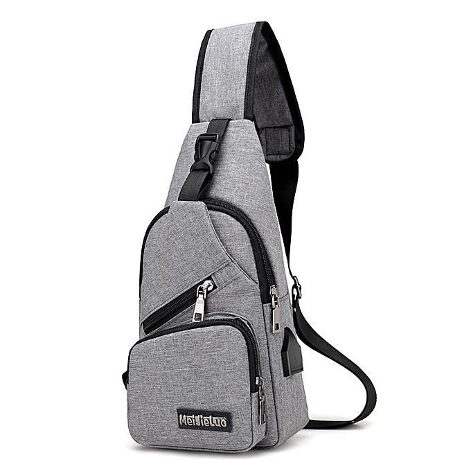 fed30f41a02 Men 's chest bag popular new canvas men travel small bag multi - functional  satchel crossbody shoulder bag simple boys hand bag(8gray)
