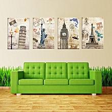 4Piece Artwork Wall Oil Painting Prints On Canvas Famous European Landscape Pictures Home Decor