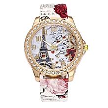 Blicool Wrist Watch Vintage Paris Eiffel Tower Women Fashion Watch Crystal Leather Quartz Wristwatch-white