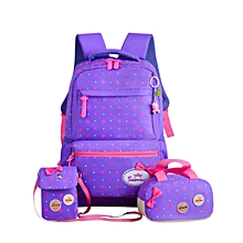School Bags Star Printing travel Backpack kids Orthopedic Backpack 3pcs/Set Rucksack - Purple