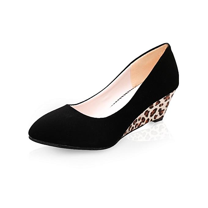 29066b1001afd8 Women Wedges Pumps Korean Flock Shallow Casual Shoes Plus Size (Black) ...
