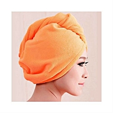 Microfibre Hair Quick Drying Shower Wrap-Bath Head Turban-Absorbing Twist Towel-Orange