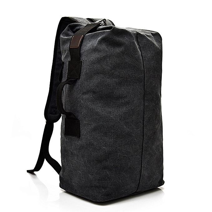 d4f8786b2b ... Africanmall store Vintage Neutral Outdoor Travel Canvas Backpack High  Capacity Satchel Hiking Bag -Black