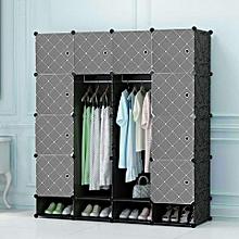 Portable Wardrobes - Spacious 4 Columns -Black Grey doors