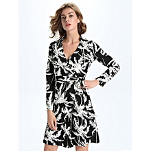 Sexy Women Long Sleeve V-Neck Printed Wrap Dress