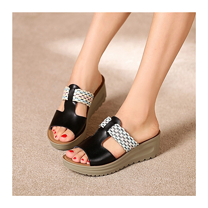 afa4b980da1d Fashion Women Leather Casual Summer Slip On Soft Comfy Wedge Sandals ...