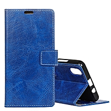 Wiko LENNY 4 Plus Retro Crazy Horse Texture Horizontal Flip Leather Case with Holder and Card Slots and Wallet and Photo Frame (Blue)