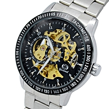 G024 Men Auto Mechanical Watch Stainless Steel Band Hollow Dial Luminous Wristwatch-STEEL BAND+BLACK DIAL