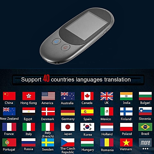 Smart Language Voice Translator Device Translation 40 Languages 2 4 Inch  TouchScreen Rechargeable Battery for Learning Traveling ASQOA