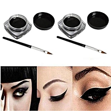 2 PCS Mini Eyeliner Gel Cream With Brush Makeup Cosmetic Black Life Waterproof