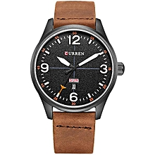 CURREN 8265 Men Sport Watch Military Leather Week Day Display Strap Casual Quartz Wrist Watch Brown+Black