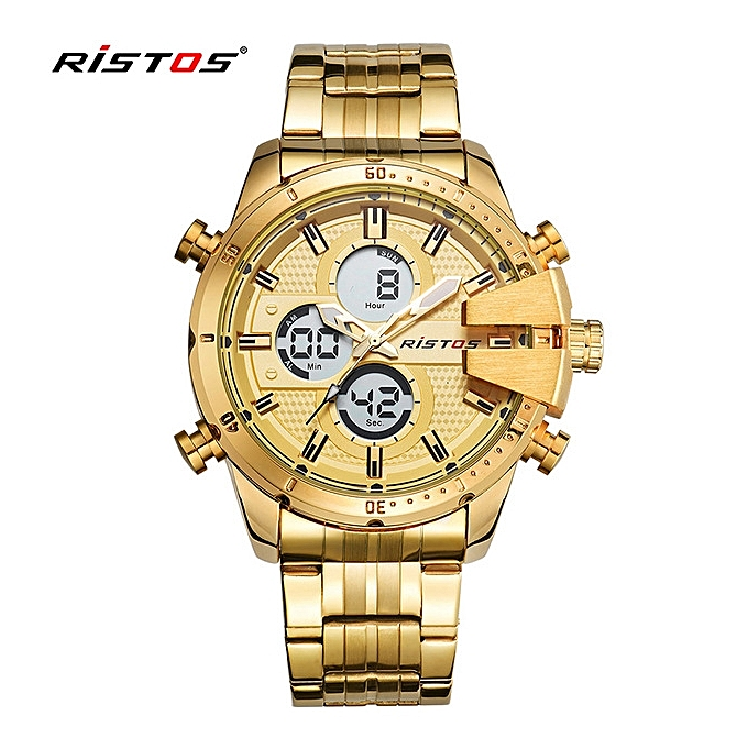 7f23ad2ee982 RISTOS Male Chronograph Digital Wristwatch Fashion Relojes Masculino Hombre  Multifunction Stainless Steel Man Sport Watches 9345