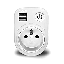 Loskii SH 50 5V Max 2.1A Indoor Electronic Smart 2 USB Ports 180 Degree Wall Socket Switch