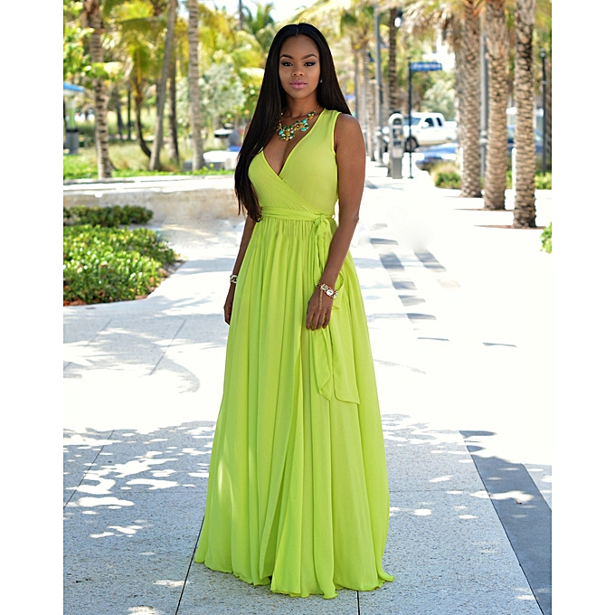baee5958dff Arican Chiffon Dress Deep V Party Maxi Dresses Sleeveless Summer Dress -  Green