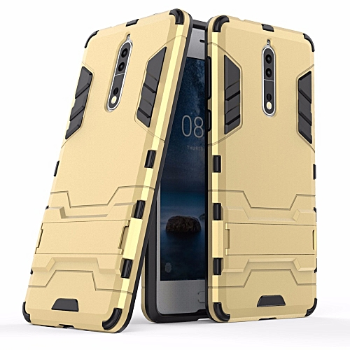 new concept 58b42 dd9b4 For Nokia 8 , Shockproof Hybrid Kickstand Rugged Armor PC+TPU Cover Case  For Nokia 8 Stand Protective Shell (Gold)