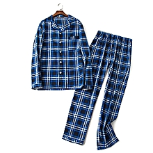 Mens Plaid Printing Cotton Breathable Spring Autumn Home Casual Sleepwear Set