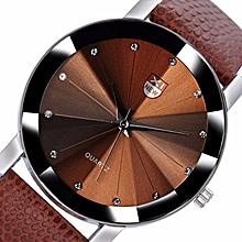 XINEW Africashop Watch  Men Luxury Stainless Steel Quartz Military Sport Leather Band Dial Wrist Watch-coffee