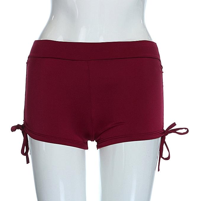 159d44614f1 ... huskspo Womens Shorts Plain Bikini Swim Pants Swimwear Style Briefs  Bottoms Beachwear-Red ...