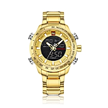 Luxury Dual Display Digital Quartz Men Watch Stainless Steel Luminous Sports Watch Chronograph Water-Proof Man Clock + Gift Box