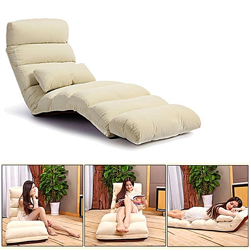 Folding Lazy Sofa Chair Stylish Couch Bed Lounge W Pillow Burgundy