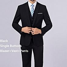 (Blazer+Pants+Vest) 3 Pieces Men Suit Slim Fit Wedding Business Wear Formal Men Suit Black - Black - XL