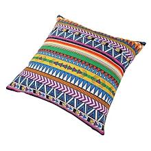 Unisex Colorful Square Linen Pillow - White