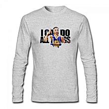 Stephen Curry #30 NBA MVP Golden State Warriors Men's Cotton Long Sleeve T-shirt Grey