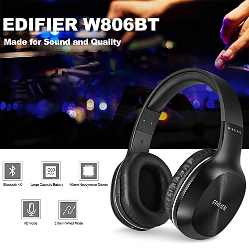 LEBAIQI EDIFIER W806BT Wireless Bluetooth Headphones On Ear Stereo Music Headset 70 Hours Playtime with Built-in Microphone 3.5mm Wired Earphone for Smart Phone Tablet PC Other Bluetooth Devices Black