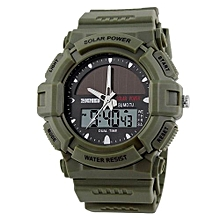 1050E Solar Energy Watch Fashion Men Sports Watches Digital Quartz Outdoor Military Wristwatches - Green