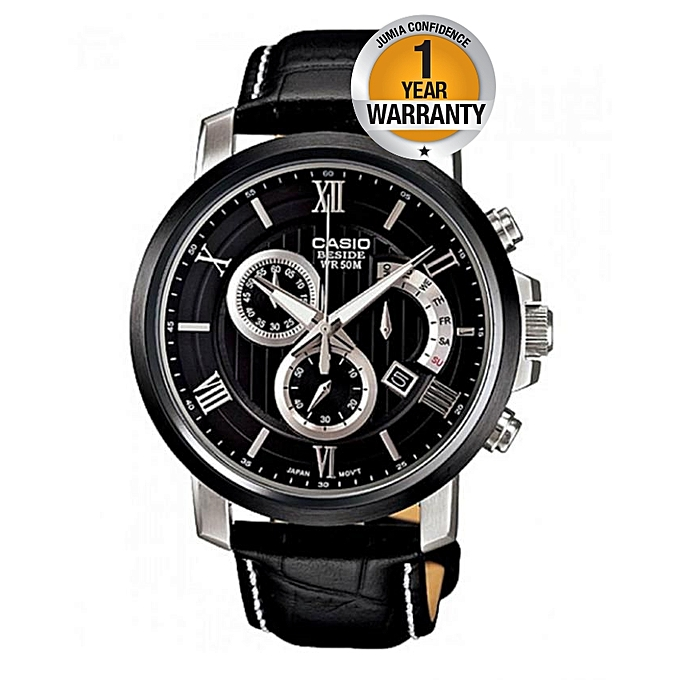 fd1184779e Casio Beside Black Dial Chronograph Watch With Leather Straps @ Best ...