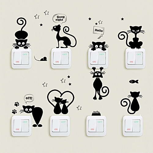 Generic Lovely Cat Light Switch Wall Stickers Home Decor Cartoon