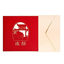 3D Pop up Card Chengdu City Silhouette Handmade Birthday Greeting multicolor
