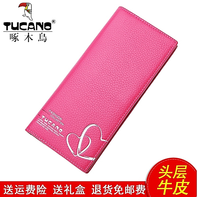 Style one plum is red, send to card to wrapThe woodpecker purse is female  long style of leather head layer leather lady's soft skin money clip to  wrap