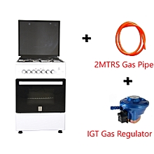 Free Standing Cooker, 3 Gas Burners, 1 RAPID Hot Plate, Electric Oven - MST60PU31WH/HC,  With 2M German Technology Gas Pipe and IGT Snap On Compact Low Pressure Regulator - White
