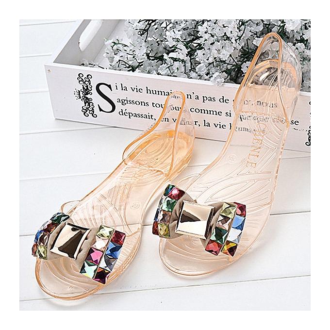 56d4808c5 Fashion Women Summer Chic Beach Sandals Peep Toe Flat Rhinestone ...