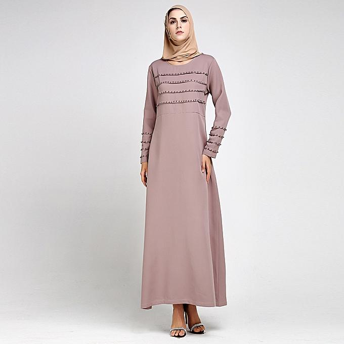 6c324b61b3ba Fashion Women Muslim Dress Rivet Long Sleeve Solid Abaya Kaftan Islamic  Arab Robe Maxi Dress Khaki
