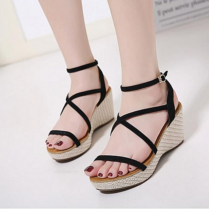 c8fba039c48c Generic Fashion Women Sandals Summer Shoes Bandage Wedges Girl Roman ...