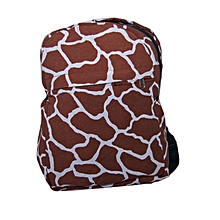Brown durable wildlife prints school bag-Giraffe print